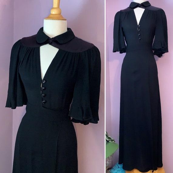 Ossie Clark, Vintage 1970's Black Maxi Wrap Dress, Moss Crepe, Size 12, Modern 2-4