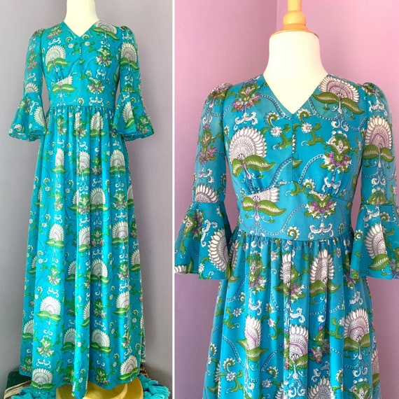 1960's Vintage Turquoise Maxi Dress with Bell Sleeves, Empire Waist, Full Skirt, Size Small