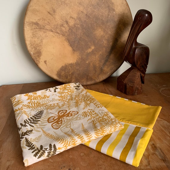 Vintage 1970's Pillowcases, Set of two, Mod Yellow Stripes and Butterfly Print, Excellent Condition