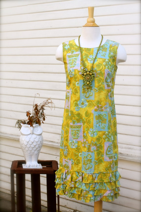 Wall Flower 1960's Shift Dress, Day Dress, Cute Ruffled Hem, Yellow, Pink, Blue, Floral, Sleeveless, Cotton, Wallpaper, Handmade, Small