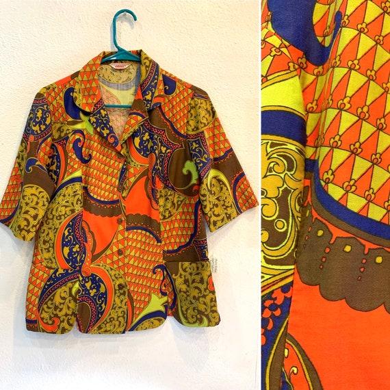 1960's Camp Collar, Psychedelic Print, Mod Button-up Blouse, Graff of California, 100% Cotton Shirt, Pockets, Medium
