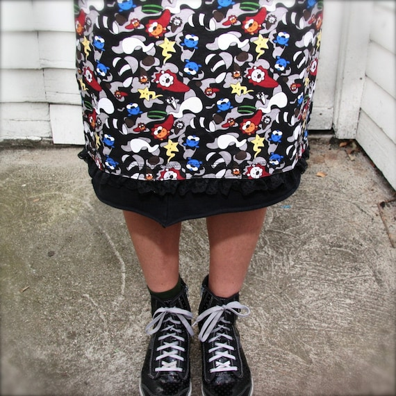 Cartoon Animals, Flirty Skirt with Lace Trim, Small/Medium, mid-length, cotton, a-line, upcycled Skirt, OOAK