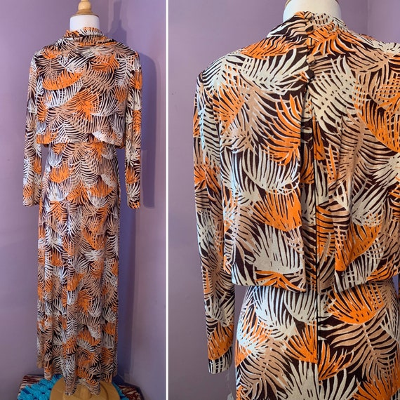 1970's Slinky Evening Gown, Orange and Brown Leaf Print Maxi Dress, Attached Capelet, Long Sleeve, Robinson's CA, Small, Medium