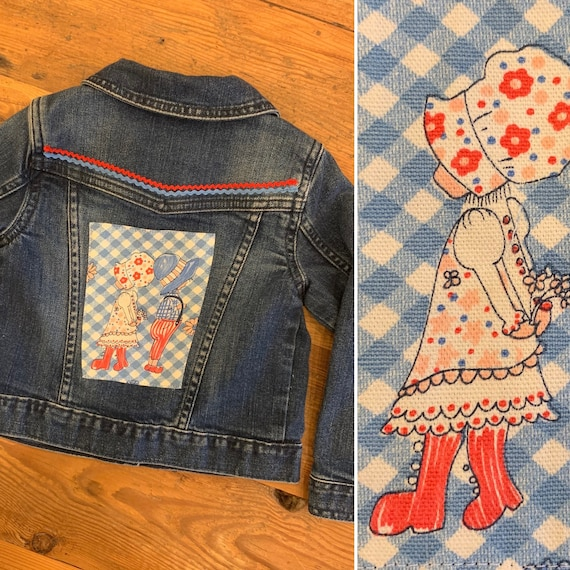 Girls' Vintage Customized Denim Jean Jacket, Gap Brand Size 3T, Vintage Prairie Girl Fabric Patches, Vintage Rick Rack
