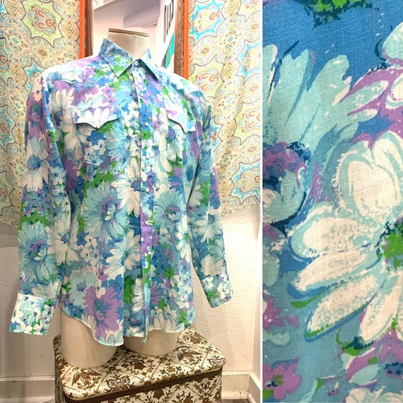 Vintage Men's 1970's Floral Western Shirt, Panhandle Slim, Pearl Snaps, Collar, Long Sleeve, Size XX Large