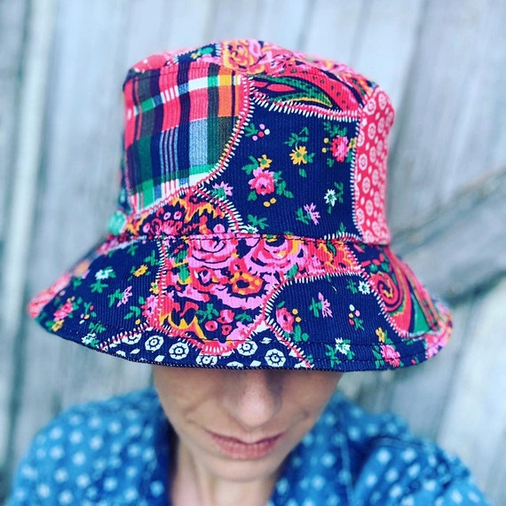 i.Tink Reversible Bucket Hat in Vintage Patchwork Corduroy and Hemp Denim, Custom Made to Order, Sizes X-Small, Small, Medium and Large