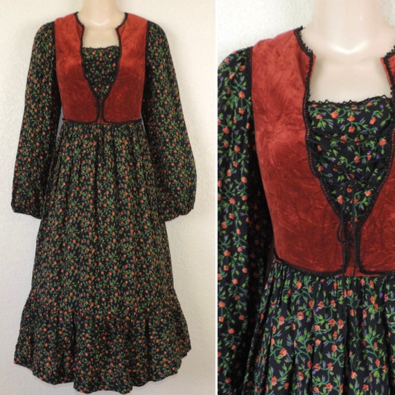 1970's Vintage Peasant Dress, Rags by Kressandra, Corset Bodice, Gunne Sax Style, Midi Prairie Dress, Small