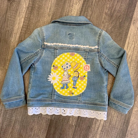Girls' Vintage Customized Denim Jean Jacket, Gap Brand Size 3T, Vintage Prairie Girl Fabric Patches, Vintage Trim