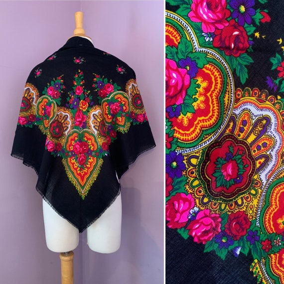 Colorful Vintage Gypsy Shawl, Bohemian Scarf, Black Floral with Fringe, Triangle, 1970's Russian Folk Style