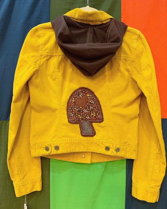 i. Tink Studios Corduroy Mushroom and Hearts Appliqué Jacket with Hood, Customized, Tumeric Yellow and Brown, Gap 1969, Size X-Small