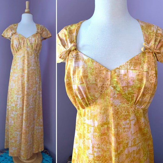 Vintage 1960's Polished Maxi Dress, Golden Yellow and Pink Abstract Print with Cap Sleeves, Sweetheart Neckline, Empire Waist, Medium Large