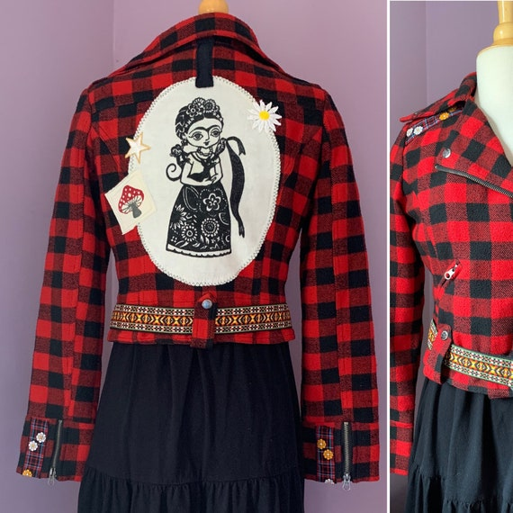 Frida Moto Jacket, Customized Red and Black Plaid Cropped Jacket, Vintage Trim and Patches, Small to Medium