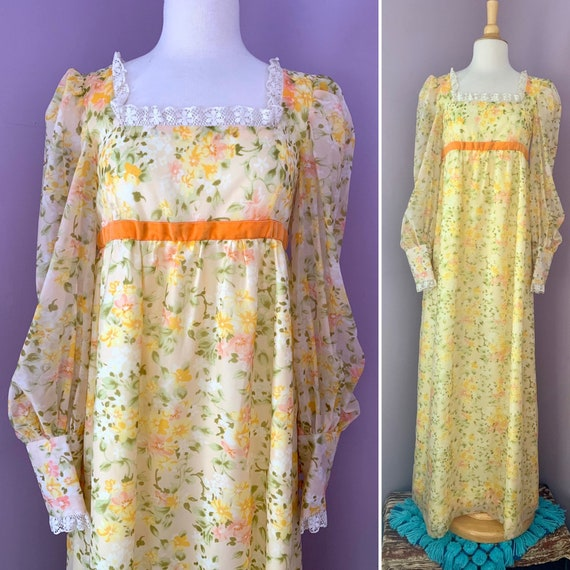 1960's Vintage Floaty Floral Prairie Dress, Yellow Maxi with Balloon Sleeves, Velvet and Lace Trim, Empire Waist, Small Medium