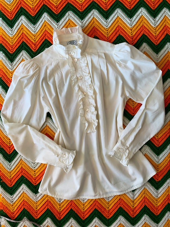 Vintage 1970's LAURA ASHLEY Cotton Blouse, Made in Great Britain, Pie Crust Collar, Ruffles, Mutton Sleeves, Off-White, Medium or Large