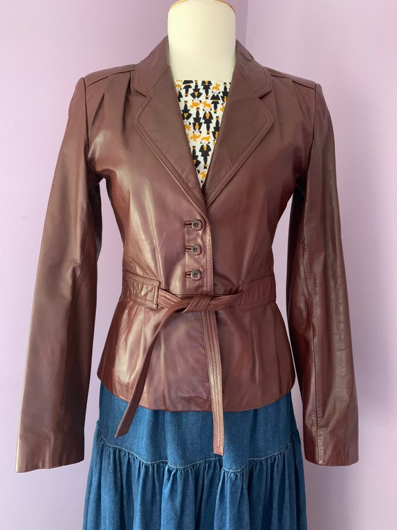 1970's Vintage Cropped Brown Leather Jacket, Wilson's Leather, Size Small