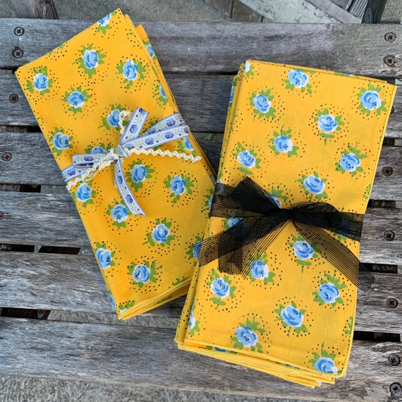Vintage Cloth Napkin Set, Bright Yellow with Blue Flowers, Never Used, Set of 4 or 8 Available