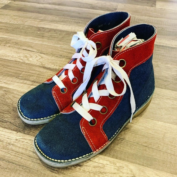 Vintage 1960's MOD Colorblock Boots, Gallenkamp, Red and BLUE Suede, HIghtops, Unisex, Mens 9/9.5, Womens 10.5/11