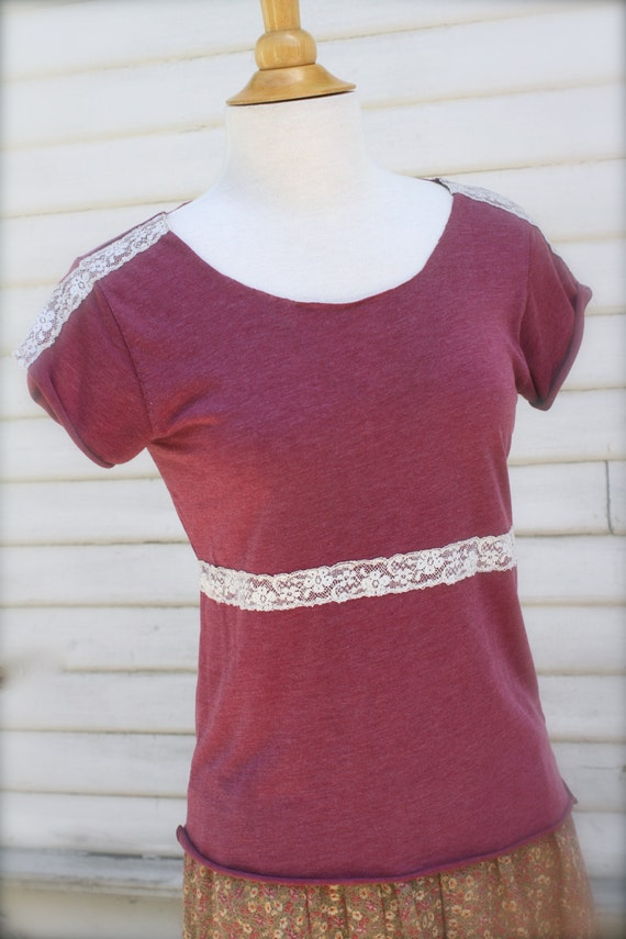Upcycled Urban Outfitters T-Shirt, Pink/Mauve Cut-up Tee, Short Sleeve, Vintage Lace, OOAK, Small, Medium