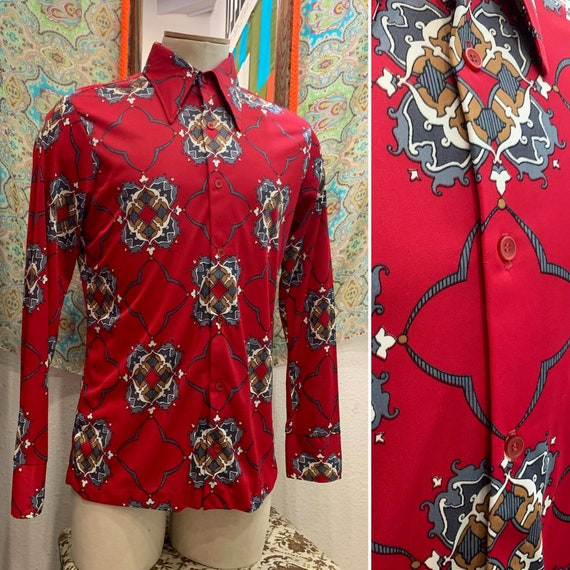 Vintage Men's 1970's Shirt, Mod Black and Red Geometric Pattern, Nylon, Dagger Collar, Long Sleeve, Button-up, Large, X-Large