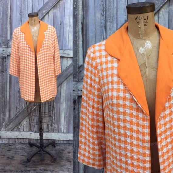 Vintage 1960's Orange Creamsicle Swing Coat, Houndstooth, 3/4 Sleeve, Orange and White, Checkered, Mod, Tweed Jacket, Small, Medium