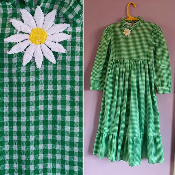 Girls' Vintage 1960's Prairie Dress, Green Gingham, Size 5-6 years, Little House on the Prairie Dress, Lynley Designs, New Orleans
