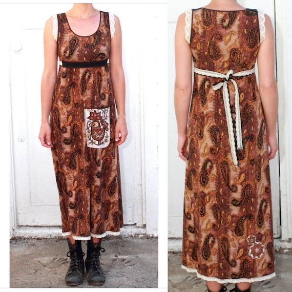 Brown Paisley Midi Dress, Jersey Sundress, Vintage Prairie Inspired Dress, Bohemian Festival Dress, Small, OOAK