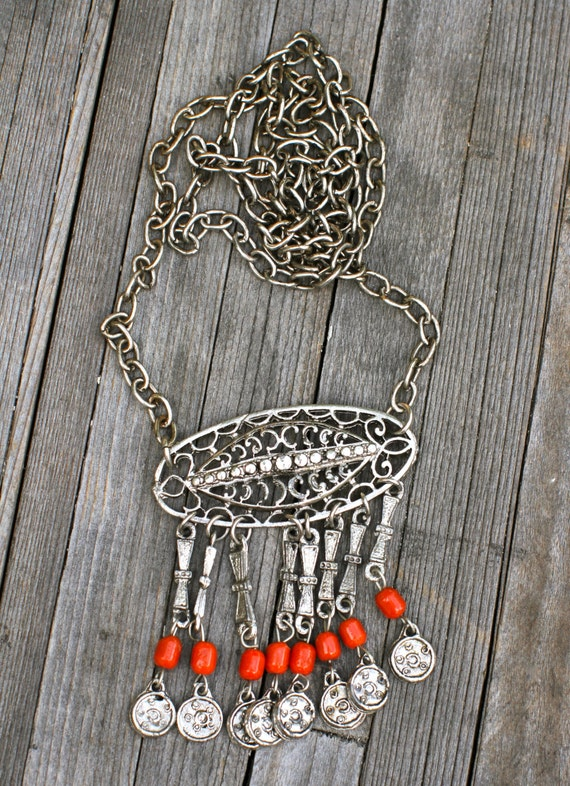Vintage Ethnic Silver-Tone Necklace with Coral Red Beads, Tribal, Long Pendant Necklace, 1970's?