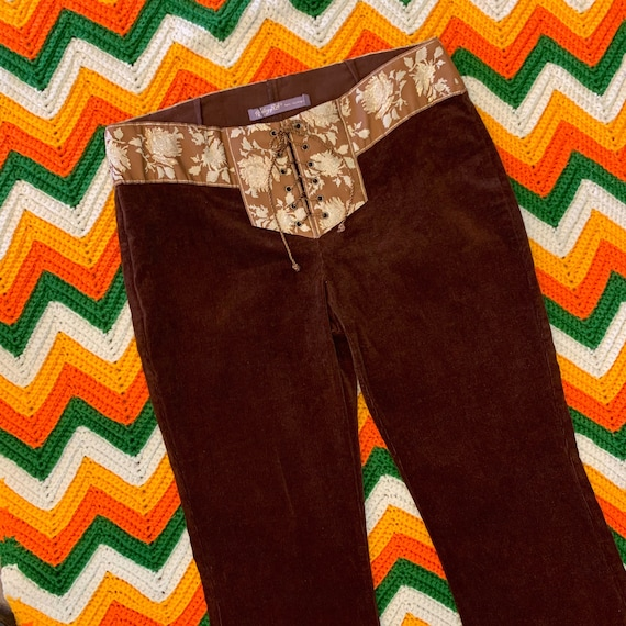 "Vintage Corduroy Flares with Lace-Up Fly, 90's does 70's Hip Hugger Pants, Brown, Size 8, 32"" Low-rise Waist"