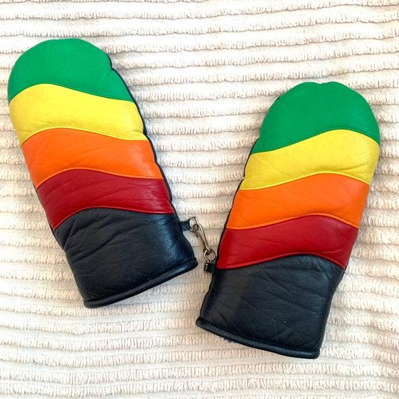 Vintage 1970's Rainbow Snow Gloves, Red Orange Yellow Green Navy, Warm Winter Ski Mittens, Size Medium