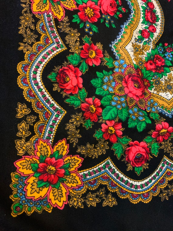 Colorful Gypsy Shawl, Vintage Bohemian Over-Sized Scarf, Floral Paisley, Black with Fringe, Square, 1970's Russian Folk Style