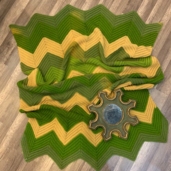 1970's Vintage Yellow and Green Chevron Pattern Crocheted Afgan Blanket, Large Blanket Throw, Bohemian, Granny Blanket, Hipster Decor