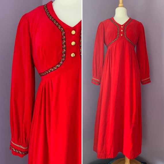 1960's Vintage Red Velveteen Maxi Dress by Gigette for Saks Fifth Avenue, Size Medium