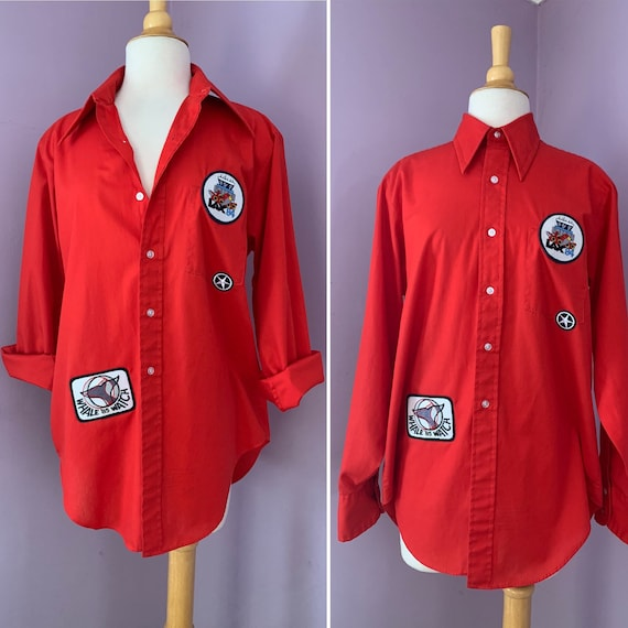 Vintage 1970's Red Patched Up Shirt, 1980's Patches, Button Front, Dagger Collar, Long Sleeve, Unisex, Oversized, Large, X-Large