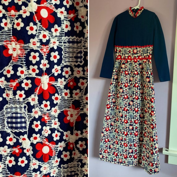 Tween Girls' Vintage 1960's Quilted Maxi Dress, Size 10-12? Red White and Blue, Holiday Dress by Peggy Barker