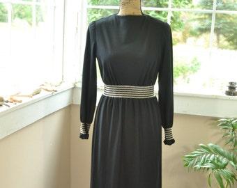 Vintage Black Maxi Dress Buttons by Hili - M (B3)