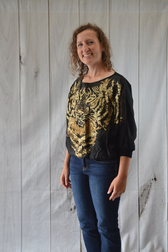 Vintage Women's Blouse Black and Gold Tiger by Pen