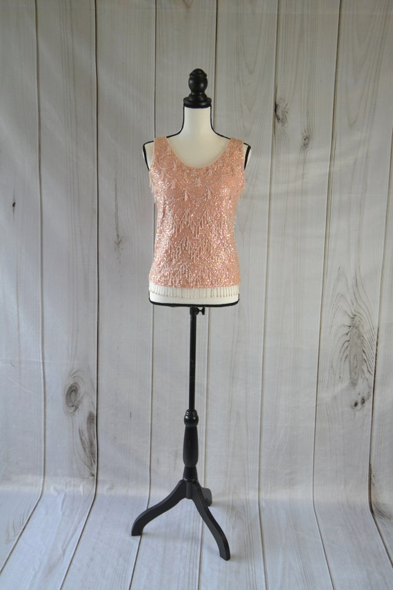 Vintage Beaded and Sequin Tank Top Shirt Pink Tank