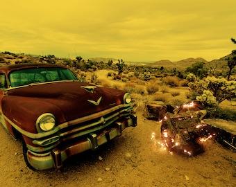 Light Theory #5 - Fine art landscape photograph - desert with vintage car - Photo Print