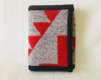 Tri-fold wallet, coin purse, red/gray Native American style