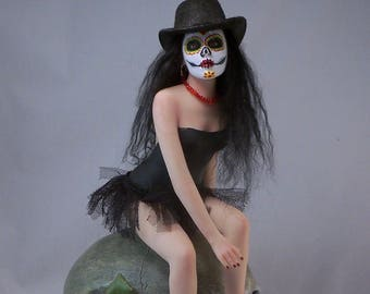 Ooak Day of the Dead Art Doll Sculpture