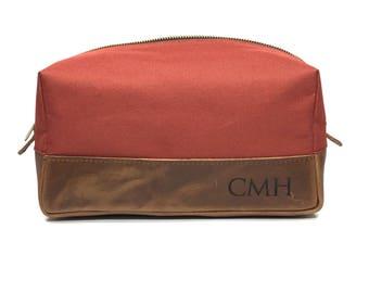 Engraved Dopp Kit - Groomsmen Gift - Orange Sorbet Canvas & Crazy Horse Leather