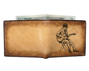 Mens Leather Wallet - Engraved Wallet - Groomsmen Gift - Guitarist