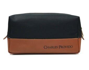 Personalized Toiletry Bag - Engraved Leather Dopp Kit - Black & Tan