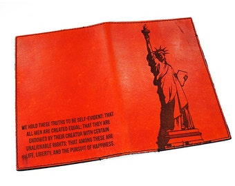 Personalized Passport Leather Holder - Statue of Liberty