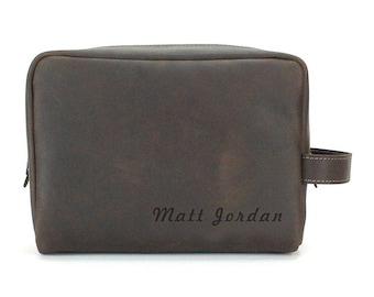 Engraved Toiletry Bag - Men Leather Dopp Kit - Oil Brown