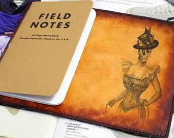 Field Notes Leather Cover - Victorian Woman Skull - Customizable - Free Personalization
