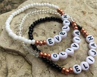 Letter bead bracelet | Etsy