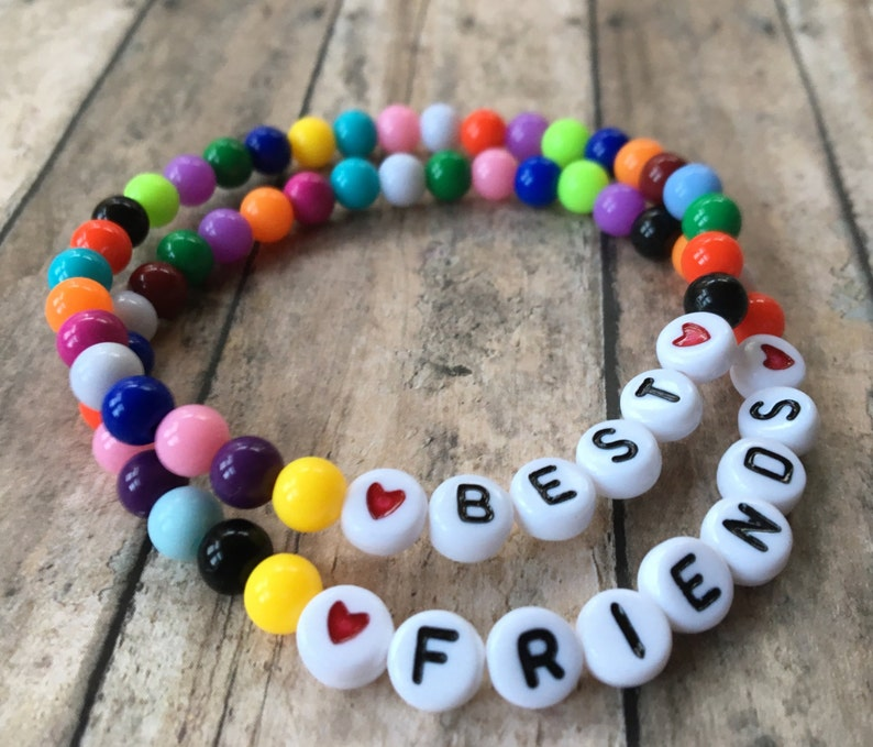 388c598a8db79 Best Friends Bracelet Set-6mm Multicolor Round Acrylic Beads-White Letter  Beads-Stretch Bracelet Set-Rainbow