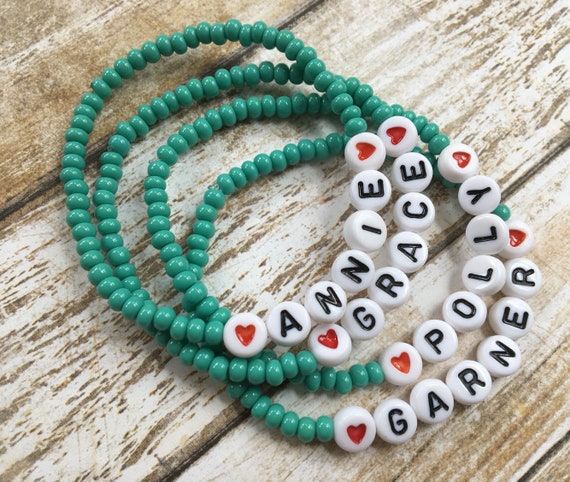 Personalized Beaded Stretch Bracelet Any Name Any Word Any Phrase Stackable Id Bracelet White Letter Beads 4mm Green Turquoise Czech Glass by Etsy
