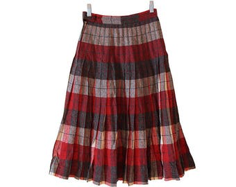 660905cff Vintage 1950's Pendleton Turnabout Wool Reversible High Waist Pleated Skirt  Red Gray